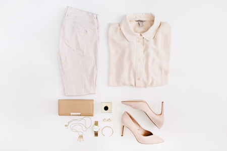 Foto de Women modern fashion clothes and accessories. Flat lay female casual style look. Top view. - Imagen libre de derechos