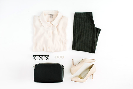 Photo for Women modern fashion clothes and accessories. Flat lay female casual style look. Top view. - Royalty Free Image