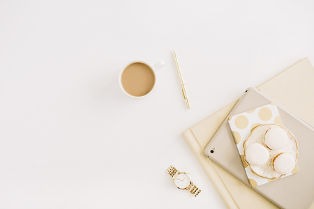 Photo for Flat lay modern concept with macaroons, coffee mug, feminine stuff on white background. Top view minimal lifestyle concept. - Royalty Free Image