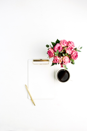 Photo for Clipboard, rose flowers bouquet, coffee and pen on white background. Flat lay, top view minimal festive mockup with space for text. - Royalty Free Image
