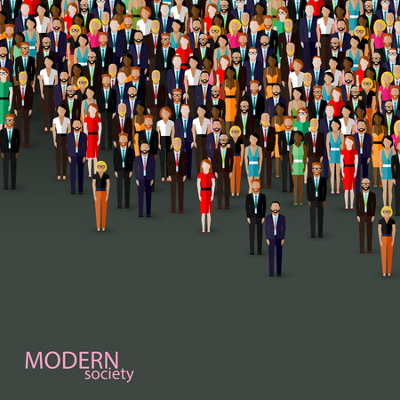 Photo for vector flat illustration of business or politics community. crowd of well-dresses men and women (business men, women or politicians) wearing suits, ties and dresses. - Royalty Free Image