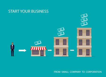 Photo pour vector flat illustration of an infographic business concept. businessman starts his own business. startup concept - image libre de droit