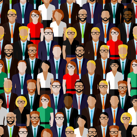 Photo pour vector seamless pattern with a large group of well-dresses ladies and gentlemen. flat  illustration of business or politics community. summit or conference family image - image libre de droit