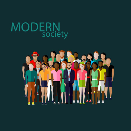 Photo pour vector flat  illustration of society members with a large group of men and women. population. modern society concept - image libre de droit