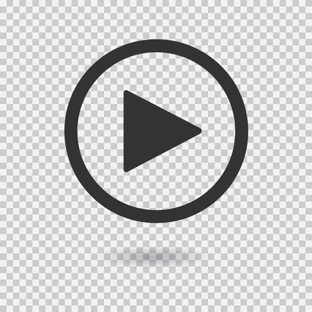 Illustration pour Play button with shadow on transparent background. Isolated sign for web. Vector icon. - image libre de droit