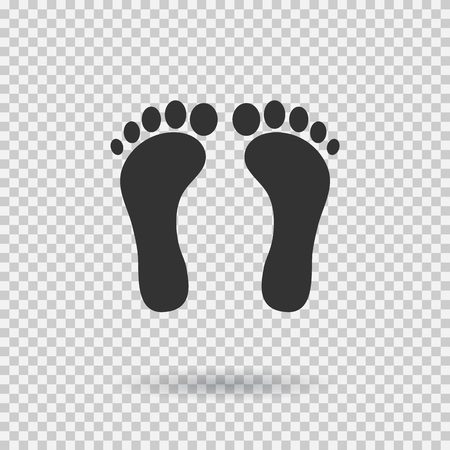 Ilustración de Human footprint icon. Footsteps in Flat style, black silhouettes illustration with shadow on transparent background. - Imagen libre de derechos