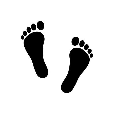 Ilustración de Human footprint icon. Vector footsteps. Flat style. Black silhouettes. Illustration isolated on white background. - Imagen libre de derechos