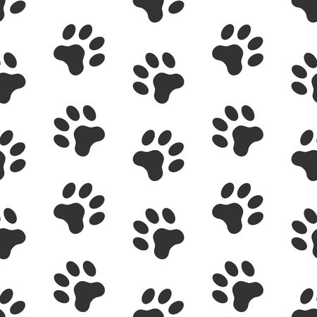 Ilustración de Dog paw track, paw prints background vector seamless pattern. - Imagen libre de derechos