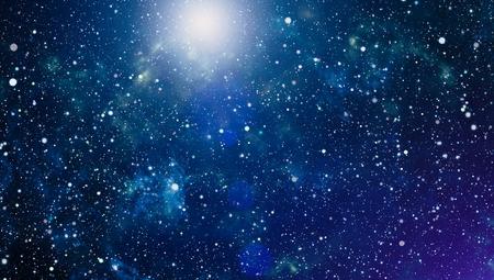 Foto de Panoramic looking into deep space. Dark night sky full of stars. The nebula in outer space. - Imagen libre de derechos