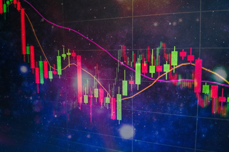 Foto de Candle stick graph chart of stock market investment trading. The Forex graph chart on the digital screen. - Imagen libre de derechos
