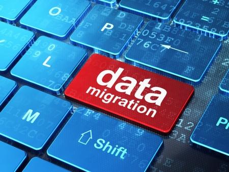Foto de Data concept: computer keyboard with word Data Migration on enter button background, 3d render - Imagen libre de derechos
