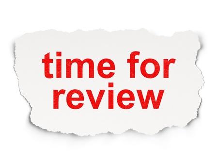 Photo pour Timeline concept: torn paper with words Time for Review on Paper background, 3d render - image libre de droit