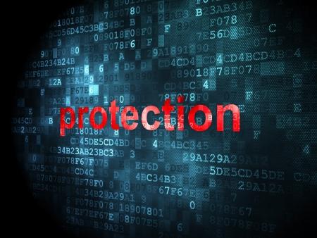 Foto de Safety concept: pixelated words Protection on digital background, 3d render - Imagen libre de derechos
