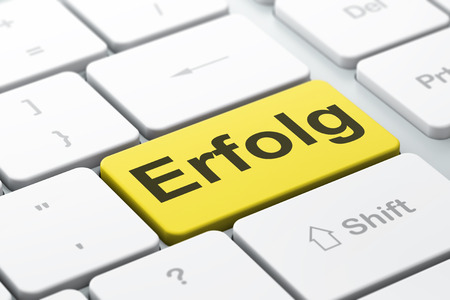 Business concept: computer keyboard with word Erfolg(german), selected focus on enter button background, 3d render