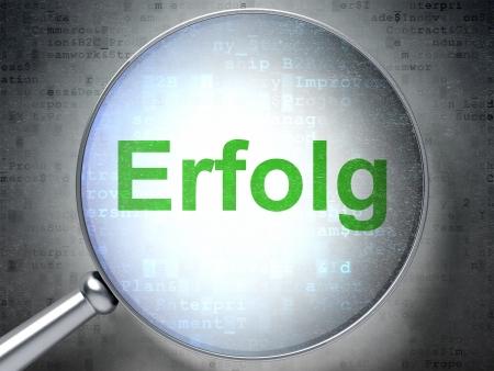 Magnifying optical glass with words Erfolg(german) on digital background, 3d render