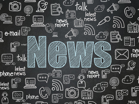 Photo for News concept: Chalk Blue text News on School Board background with  Hand Drawn News Icons, 3d render - Royalty Free Image