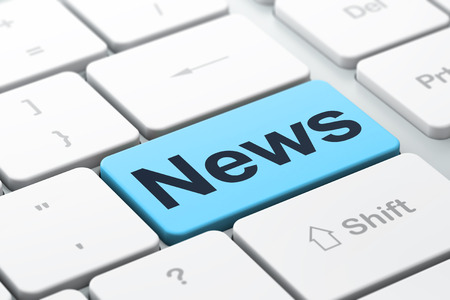 Photo for News concept: computer keyboard with word News, selected focus on enter button background, 3d render - Royalty Free Image