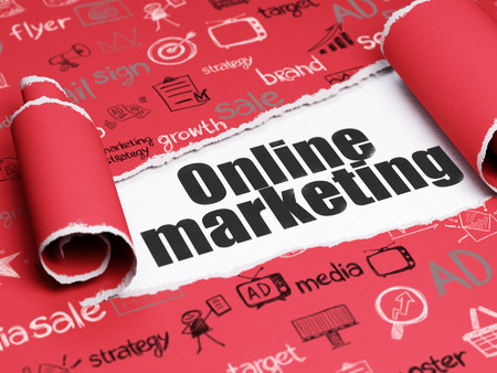 Foto de Marketing concept: black text Online Marketing under the curled piece of Red torn paper with  Hand Drawn Marketing Icons - Imagen libre de derechos