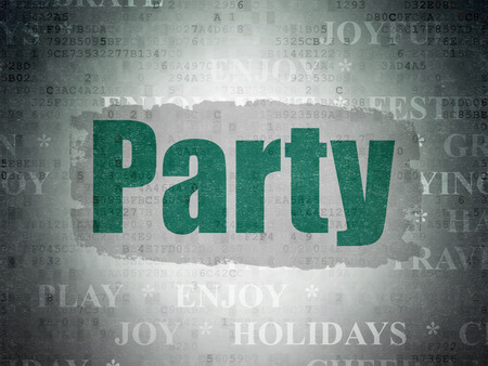 Holiday concept: Painted green text Party on Digital Paper background with   Tag Cloud