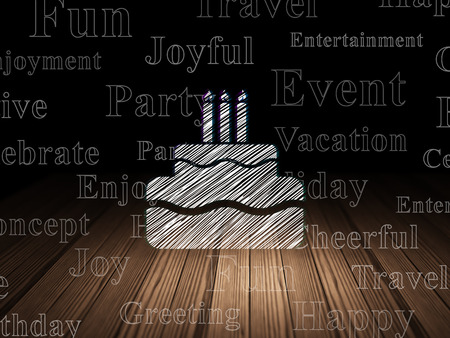 Entertainment, concept: Glowing Cake icon in grunge dark room with Wooden Floor, black background with  Tag Cloud