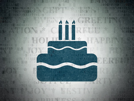 Birthday concept: Painted blue Cake icon on Digital Paper background with Tag Cloud