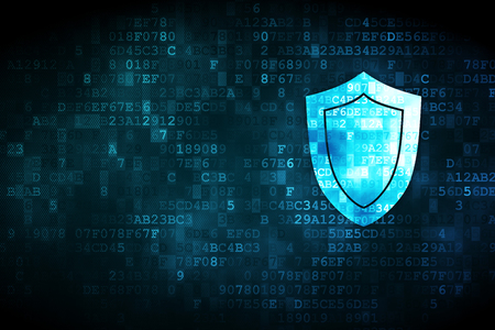Photo pour Security concept: pixelated Shield icon on digital background, empty copyspace for card, text, advertising - image libre de droit