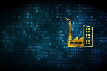 Foto de Industry concept: pixelated Industry Building icon on digital background, empty copyspace for card, text, advertising - Imagen libre de derechos