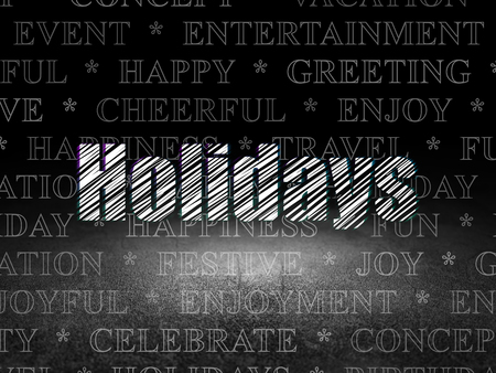 Holiday concept: Glowing text Holidays in grunge dark room with Dirty Floor, black background with  Tag Cloud