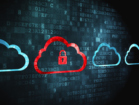 Photo pour Cloud computing concept: pixelated Cloud With Padlock icon on digital background - image libre de droit
