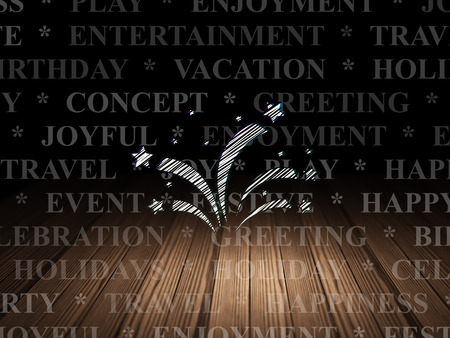 Holiday concept: Glowing Fireworks icon in grunge dark room with Wooden Floor, black background with  Tag Cloud