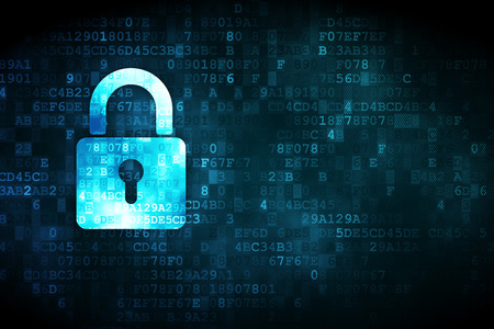 Foto de Protection concept: pixelated Closed Padlock icon on digital background, empty copyspace for card, text, advertising - Imagen libre de derechos