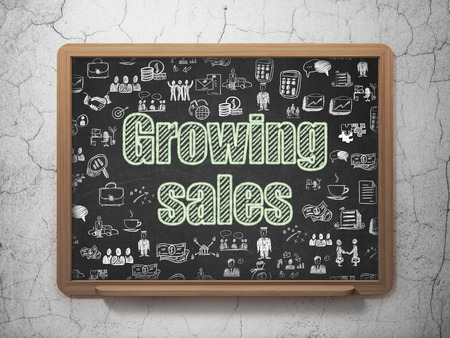 Business concept: Chalk Green text Growing Sales on School board background with  Hand Drawn Business Icons, 3D Rendering
