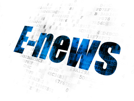 Foto de News concept: Pixelated blue text E-news on Digital background - Imagen libre de derechos