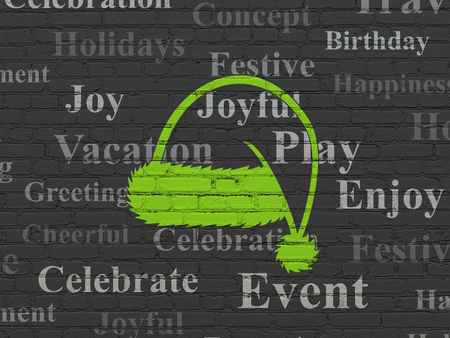 Entertainment, concept: Painted green Christmas Hat icon on Black Brick wall background with  Tag Cloud
