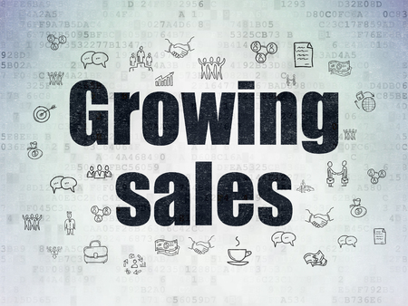 Business concept: Painted black text Growing Sales on Digital Data Paper background with  Hand Drawn Business Icons