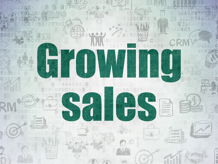 Business concept: Painted green text Growing Sales on Digital Data Paper background with   Hand Drawn Business Icons