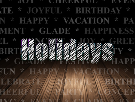 Holiday concept: Glowing text Holidays in grunge dark room with Wooden Floor, black background with  Tag Cloud