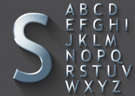 Illustration for Set of polished steel 3D uppercase english letters. Steel metallic shiny font on gray background. Good typeset for technology and production concepts. Transparent shadow, EPS 10 vector illustration. - Royalty Free Image