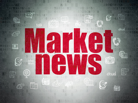 Photo pour News concept: Painted red text Market News on Digital Data Paper background with  Hand Drawn News Icons - image libre de droit