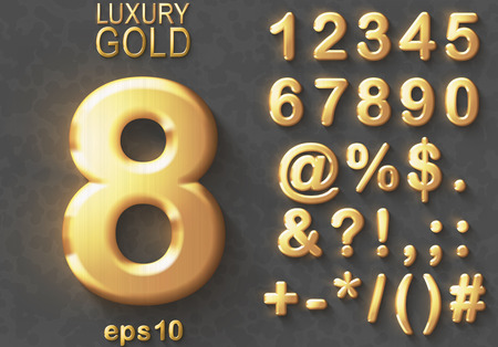 Illustrazione per Set of shiny golden luxury 3D Numbers and Characters. Golden metallic glitter bold symbols on gray background. Good set for treasure and luxury concepts. Transparent shadow, EPS 10 vector illustration - Immagini Royalty Free