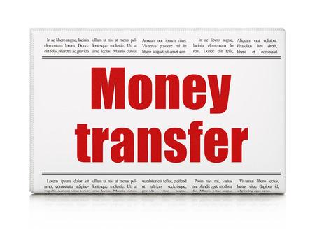 Photo pour Money concept: newspaper headline Money Transfer on White background, 3D rendering - image libre de droit