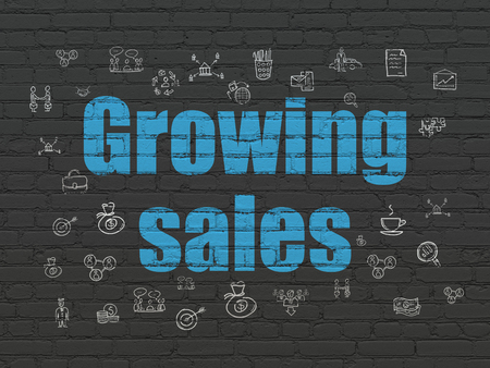 Business concept: Painted blue text Growing Sales on Black Brick wall background with  Hand Drawn Business Icons