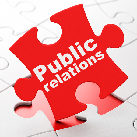 Photo for Marketing concept: Public Relations on Red puzzle pieces background, 3D rendering - Royalty Free Image