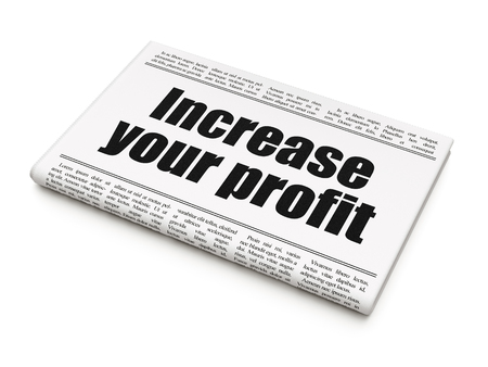 Photo pour Finance concept: newspaper headline Increase Your profit on White background, 3D rendering - image libre de droit