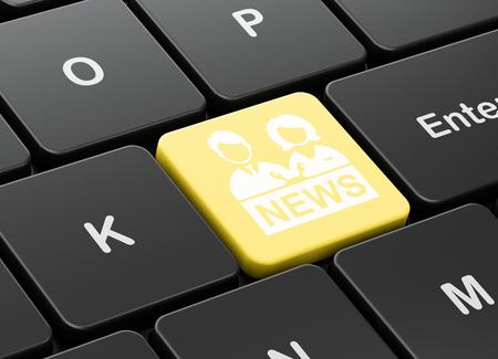 Photo pour News concept: computer keyboard with Anchorman icon on enter button background, 3D rendering - image libre de droit