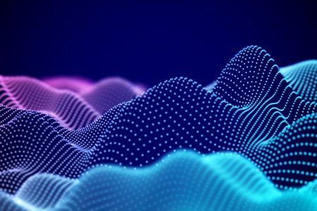 Ilustración de Visualization of sound waves. Abstract digital landscape or soundwaves with flowing particles. Big data technology background. Virtual reality concept: 3D digital surface. EPS 10 vector illustration. - Imagen libre de derechos