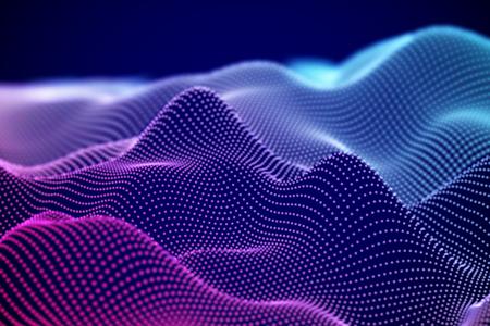Ilustración de Visualization of sound waves. Abstract digital landscape or soundwaves with flowing particles. Big data technology background. Virtual reality concept: 3D digital surface. EPS 10 vector illustration. - Imagen libre de derechos