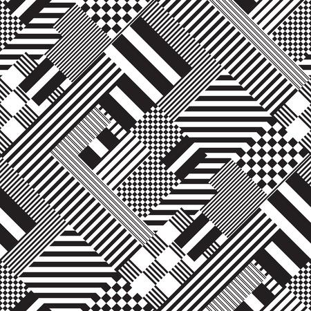 Illustration pour Vector Monochrome Seamless Lines Pattern - image libre de droit