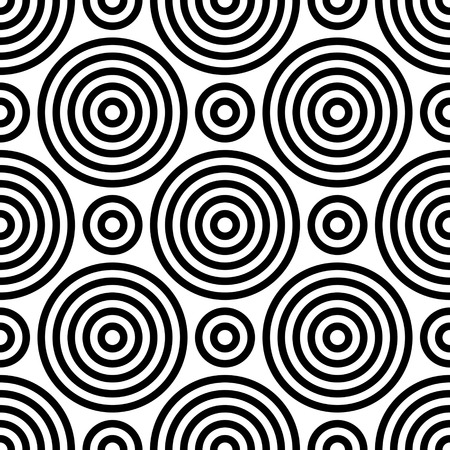 Illustration pour Seamless Circle Pattern. Abstract Black and White Background. Vector Regular Texture - image libre de droit