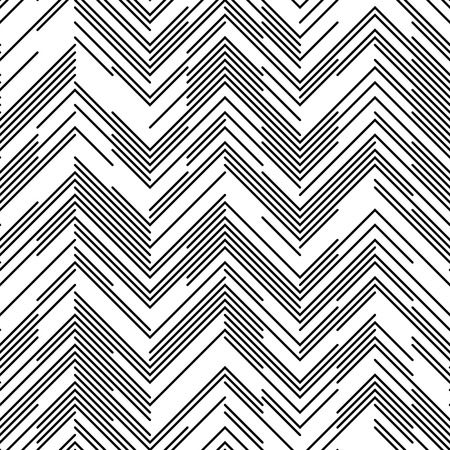 Illustration pour Seamless Chaotic Zig Zag Pattern. Abstract  Monochrome Background. Vector Regular Line Texture - image libre de droit
